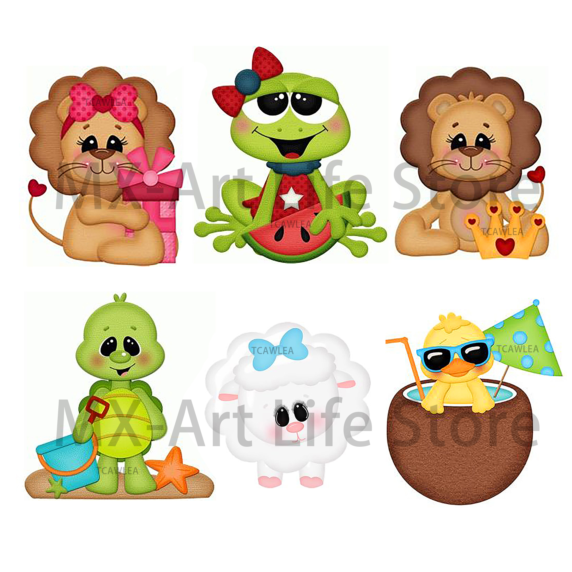 2020 Lovely Lion Duck Lamb Turtle Bear frog Girl Boy Cutting Dies Animal Baby Doll Stencil for DIY Scrapbooking Craft Cards(China)