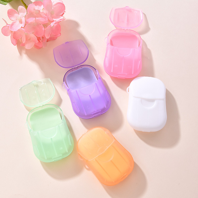 20Pcs/Box Soap Paper Washing Hand Mini Soap Disposable Scented Slice Sheets Foaming Soap Case Paper Cleaning Portable Boxed 3