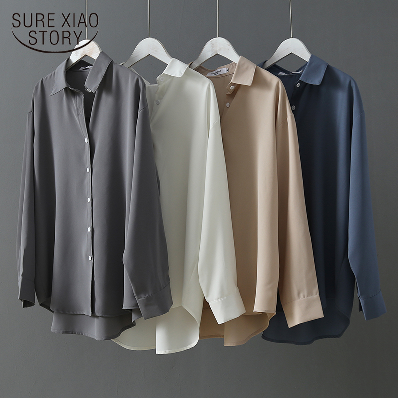 Fashion 2019 Long Sleeves Satin Blouse Vintage Femme V Neck Silk Blouse Blusa Mujer Elegante Ladies Tops And Blouse 6657 50
