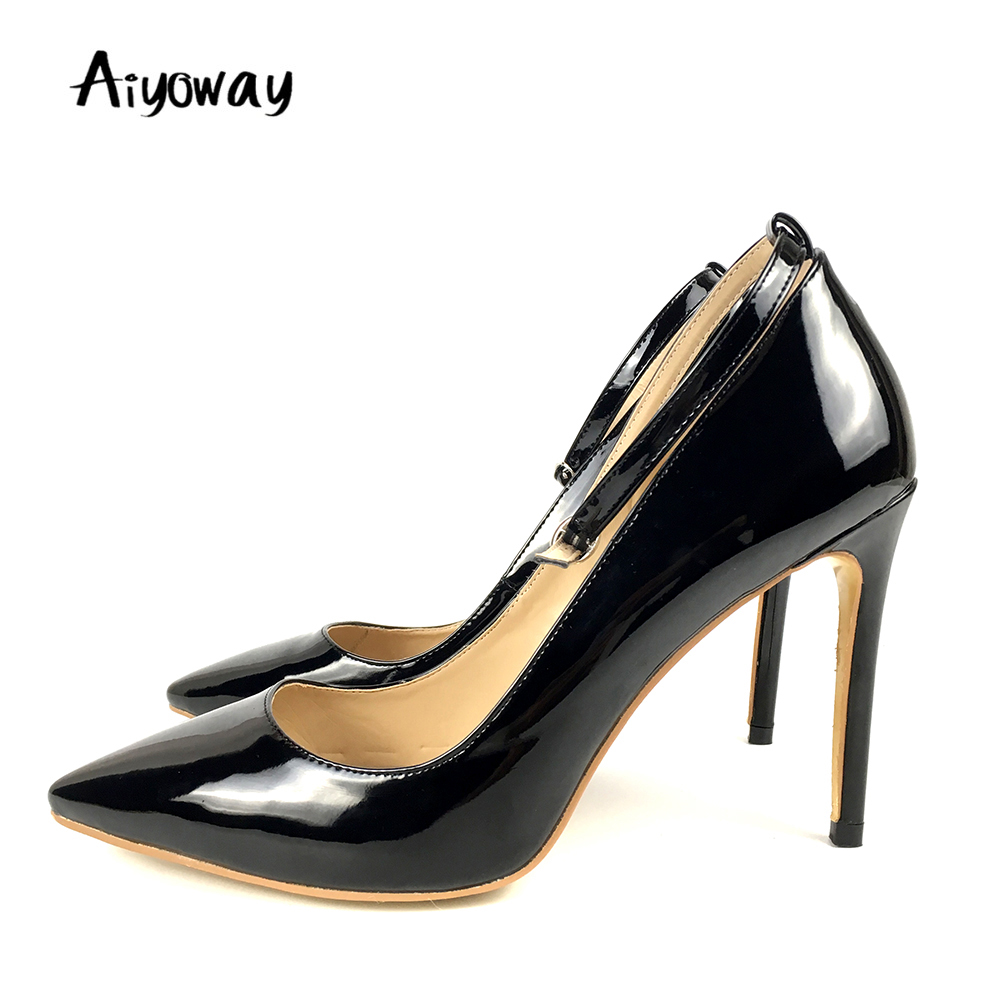 Pointed Toe High Heels Pumps Aiyoway Classics Women <font><b>Shoes</b></font> Autumn Spring Work Career <font><b>Shoes</b></font> Buckle Strap Beige White Black 2019 image