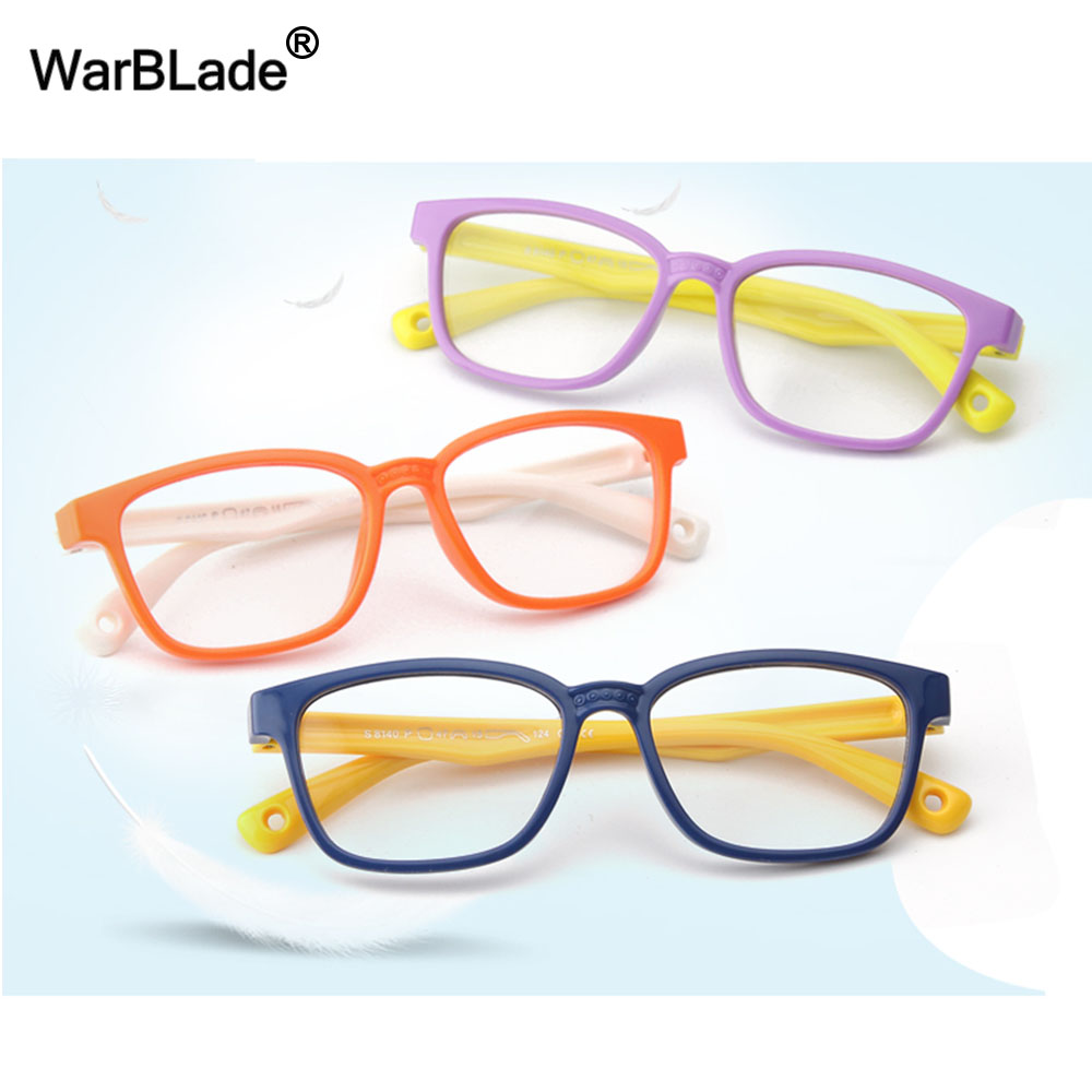 WarBLade TR90 Flexible Kids Eyeglasses Frame Glasses For Child Boys Girls Degree Myopia Optical Frames With Lanyard Square 2020
