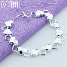 DOTEFFIL 925 Sterling Silver Solid Hollow Full Heart Bracelet For Woman Charm Wedding Engagement Party Fashion Jewelry