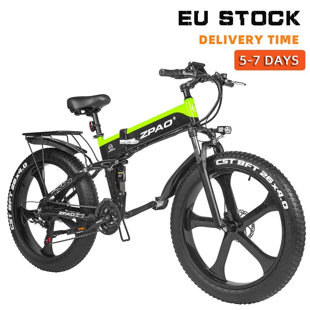 ZPAO с крупными покрышками для езды по Байк, способный преодолевать Броды 1000W сложенный Электрический велосипед электронных велосипедов ...