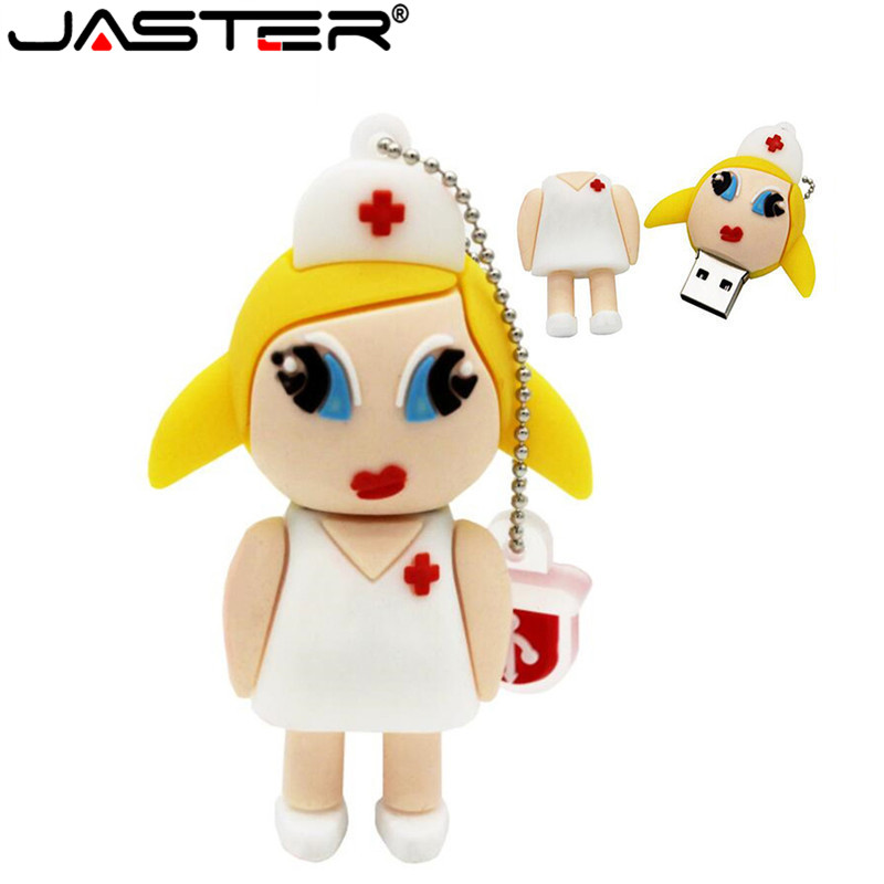 JASTER Mew Style Cartoon Nurse Model Usb2.0 4GB 8GB 16GB 32GB 64GB Pen Drive USB Flash Drive Creative Pendrive