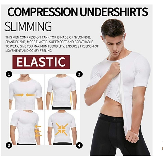 Men Body Toning T-Shirt Body Shaper Corrective Posture Shirt Slimming Belt Belly Abdomen Fat Burning Compression Corset 3