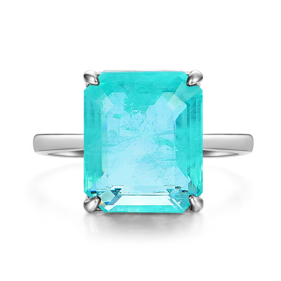 Kuololit Paraiba Gemstone Rings for Women Real 925 Sterling Silver Emerald Cutting Tourmaline Handmade Engagement Bride Jewelry 5