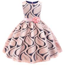 Księżniczka dziewczynek haftowany kwiat eleganckie wesele sukienki małe dziewczynki boże narodzenie Vestidos formalna sukienka odzież dla dzieci tanie tanio bibihou COTTON Poliester Kolan REGULAR O-neck Bez rękawów Na co dzień Pasuje prawda na wymiar weź swój normalny rozmiar