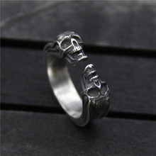 S925 Sterling Silver Cool Anel Vintage Jewelry Metalwork Midi Rings Men Pure Silver Punk Bijoux Dainty Double Skull Ring 6.50mm s925 pure silver vintage ring men s personality gold wings patron saint silver ring