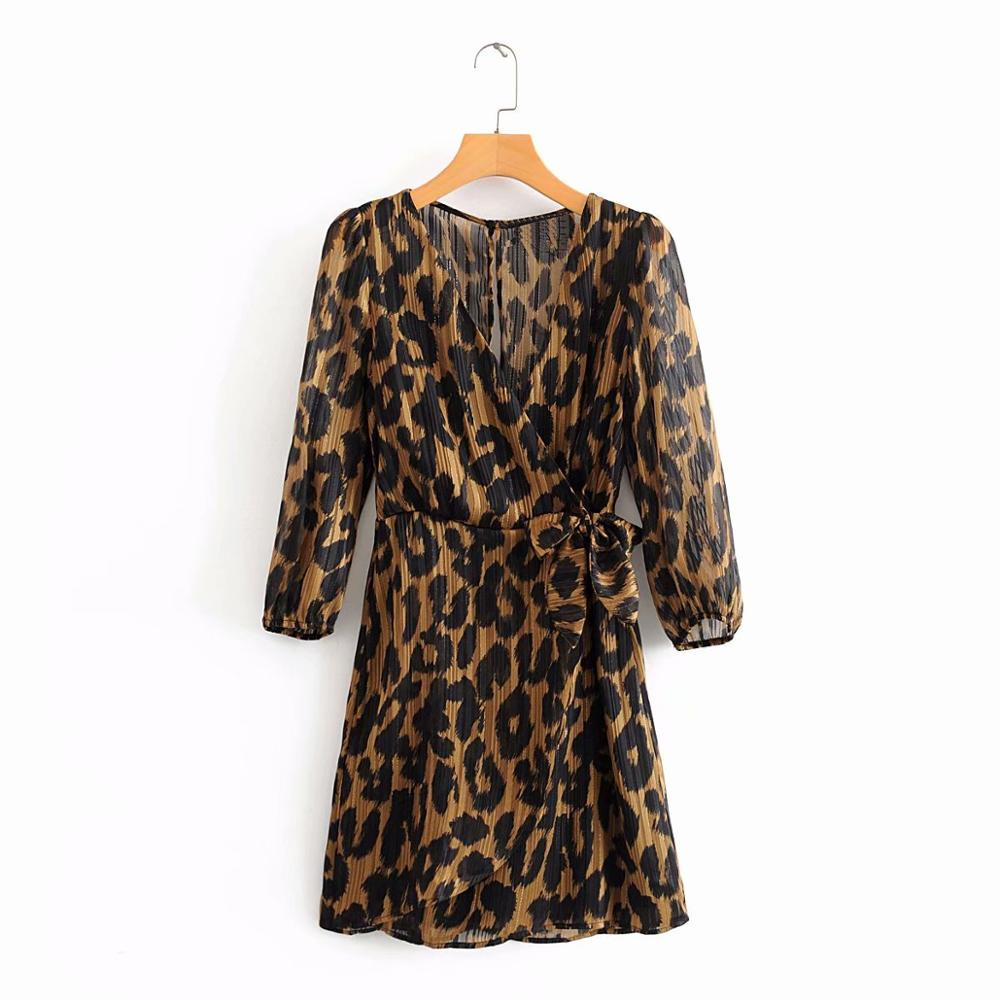 2020 New Women Cross V Neck Leopard Print Bow Tied Kimono Dress Ladies Three Quarter Sleeve Vestidos Chic Chiffon Dresses DS3345