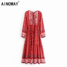 Vestido largo bohemio de rayón con borlas y estampado floral para mujer, traje elegante estilo Vintage para playa