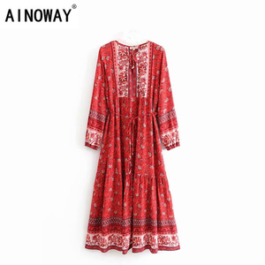 Image 1 - Vintage chic women elegant lace up  tassel floral print beach Bohemian  Maxi dress Ladies rayon Boho dress vestidos