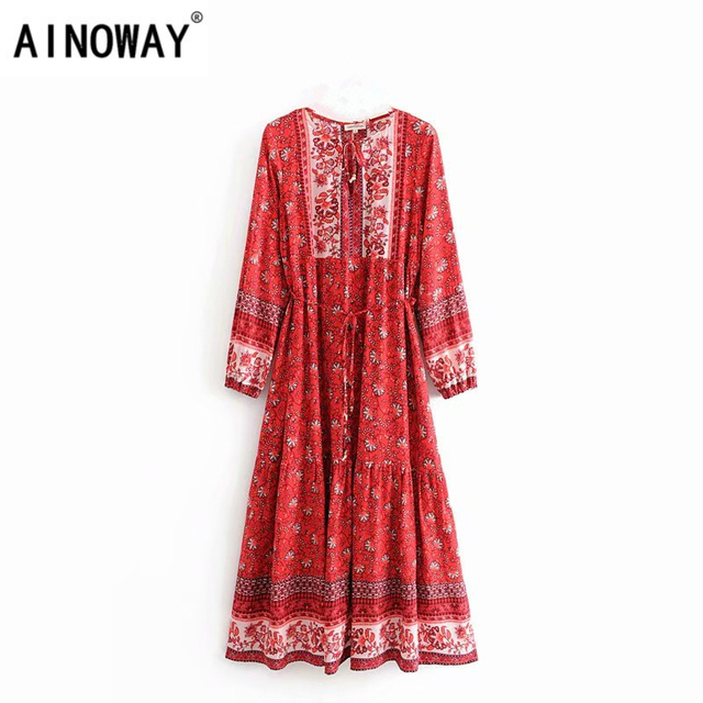 Vintage chic women elegant lace up  tassel floral print beach Bohemian  Maxi dress Ladies rayon Boho dress vestidos