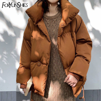 FORYUNSHES Women Bread Parkas Coats Female Winter Thick Casual Cotton Wadded Warm Short  Jackets Outwear 2020 New Korean Style new fashion women female korean short type long sleeve slim motor zipper leather jackets coats