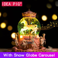 7 Colors Light DIY Music Box Musical Carousel Horse Box Snow Globe Ball For Birthday Gift Girlfriend Home Decoration Accessories