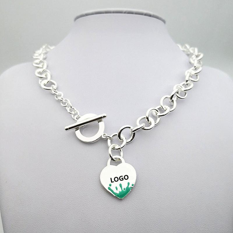 SHINETUNG Unique Style occidental 100% S925 argent Sterling vert vaporisateur en forme de coeur collier femmes Logo Fine bijoux originaux