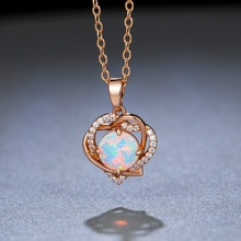 Luxurious Double Heart White Fire Round Opal Pendants Necklaces for Women Filled Friendship Necklace gift Jewelry