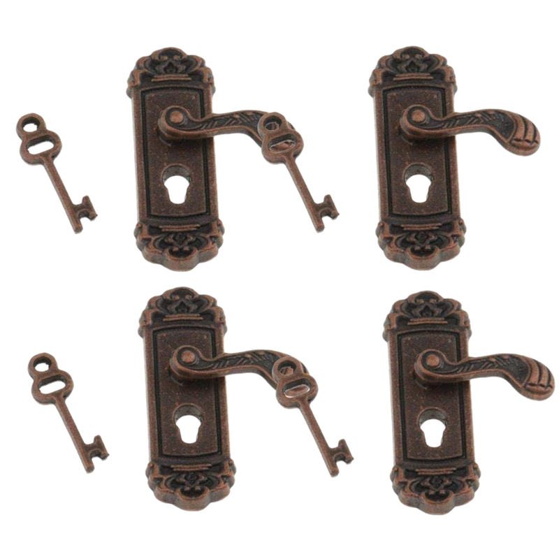 4Pcs <font><b>Doll</b></font> <font><b>House</b></font> Door Lock <font><b>1</b></font>:<font><b>12</b></font> Alloy Retro <font><b>House</b></font> Miniature Door Lock <font><b>Doll</b></font> <font><b>House</b></font> Furniture <font><b>Accessories</b></font> Right Handle Door Lock Key image
