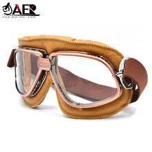JAER Motorcycle Vintage Old School Retro Goggles Glasses for Sport Racing Off Road Pilot Cycling Eye Ware