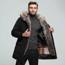 Высокое качество,, Высококачественная Мужская куртка Parker из натурального меха енотовидной собаки, меховой воротник, зимняя куртка, Мужское пальто, меховое пальто