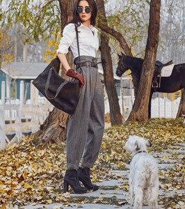 Image 3 - Aigyptos 秋冬の女性のウールパンツ女性ヴィンテージイングランドスタイルのストライプスリムスキニーパンツカジュアルアンクル長ウールのズボン