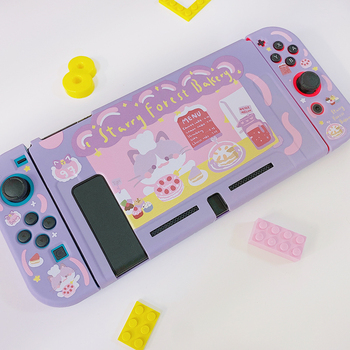 STARRY FOREST Cat Bakery cute purple soft protective case shell for nintendo switch for girls