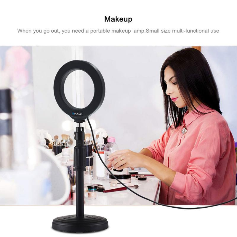 Dimmable LED Selfie Ring Light With Tripod Stand 4.7 Inch Makeup Lamp With Selfie Phone Clip For Live Studio Photo Camera Video