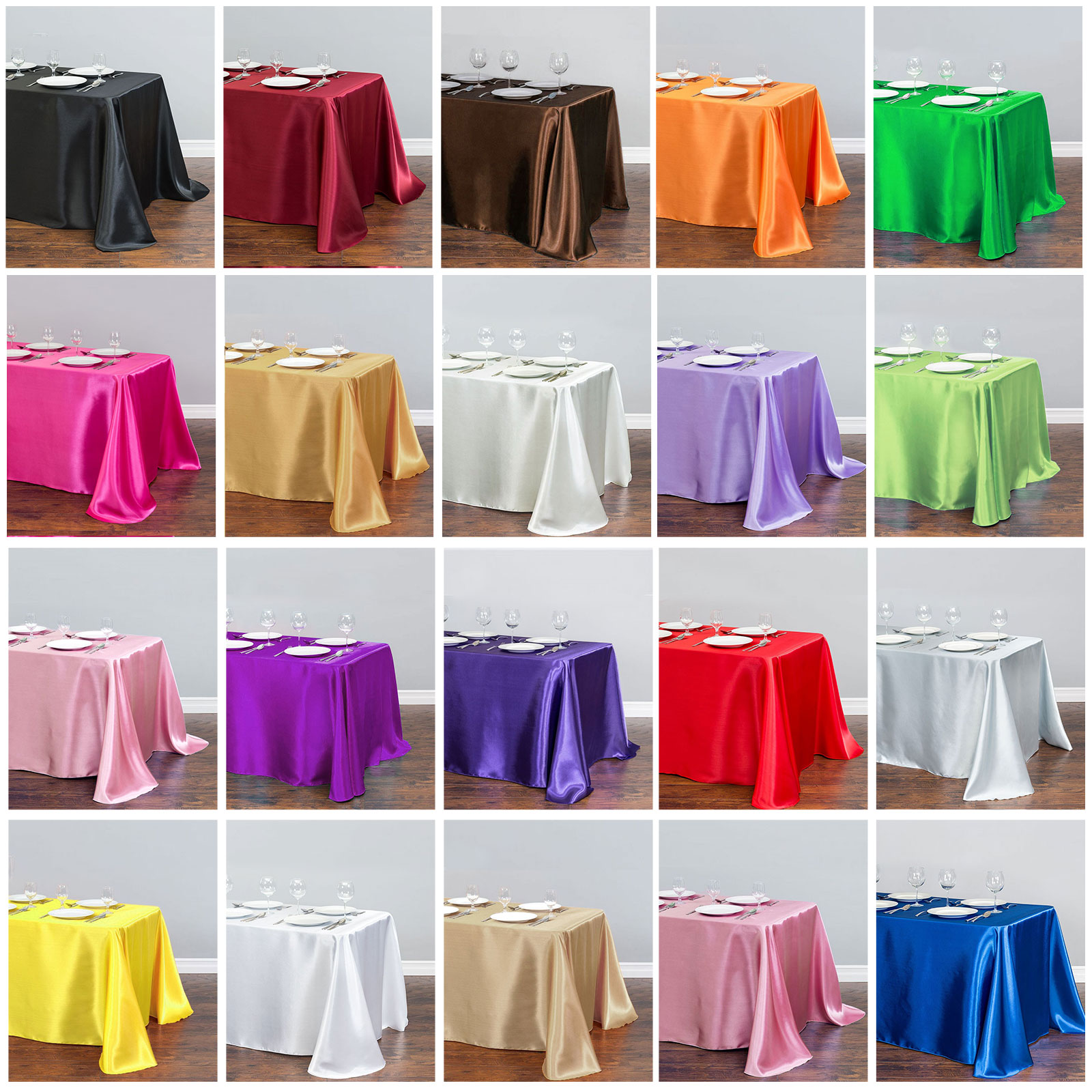 1pcs Solid Color Satin Table Cloth Tablecloth Table Cover Overlay For Birthday Wedding Banquet Restaurant Festival Party Supply