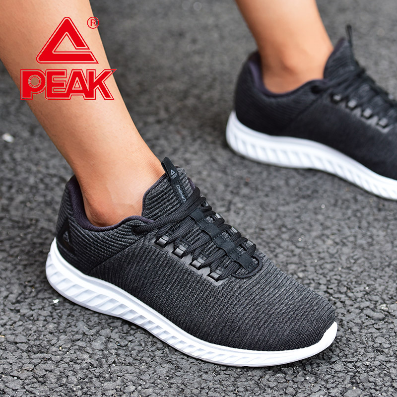 PEAK Men Running Shoes Black Lightweight Mesh Sports Shoes Elastic Gym  Sneakers Autumn Winter Outdoor Warm Shoes