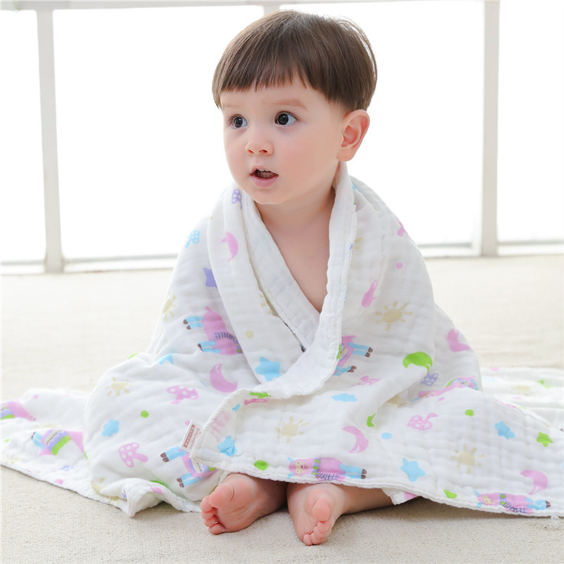Baby Muslin Squares 6 Layers Baby Blanket Cotton Baby Bath Towel Newborn Muslin Swaddle Wraps Size 110*110cm