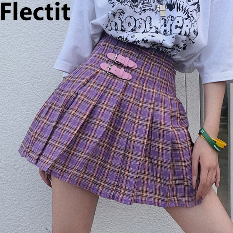 Flectit Pastel Goth Plaid Pleated Skirt High Waisted With Buckle Miniskirt Harajuku Japanese Girl Women Cute Outfits *