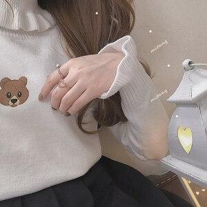 Image 5 - Harajuku น่ารักหมีสาวเสื้อกันหนาว VINTAGE คอ Kawaii หญิงถัก Pullover ผู้หญิง Ruffle Slim JUMPER สีขาวสีดำ