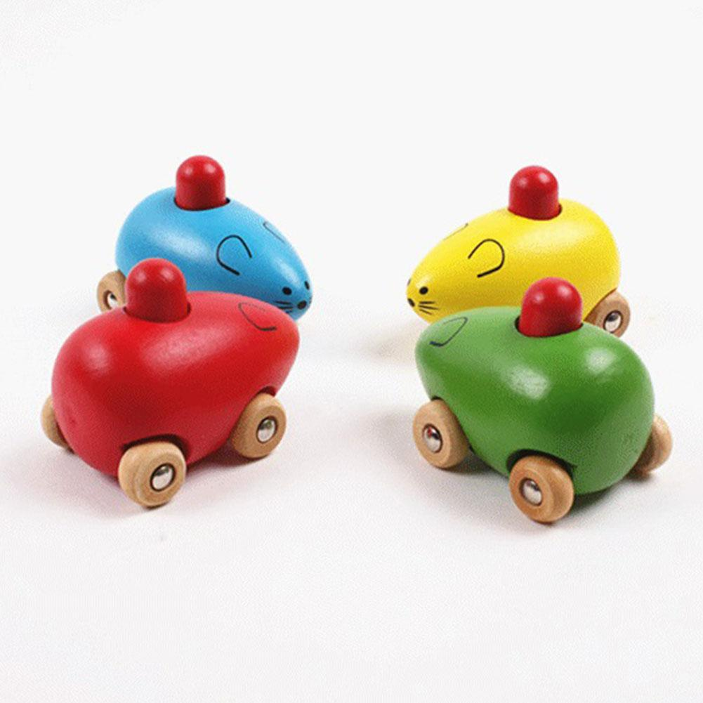 Yiwa Little Mouse BB Car Infant Wooden Animal Toy BB Sound For Baby  Puzzles Toy Wooden Toy Toy Small Mouse BB Car