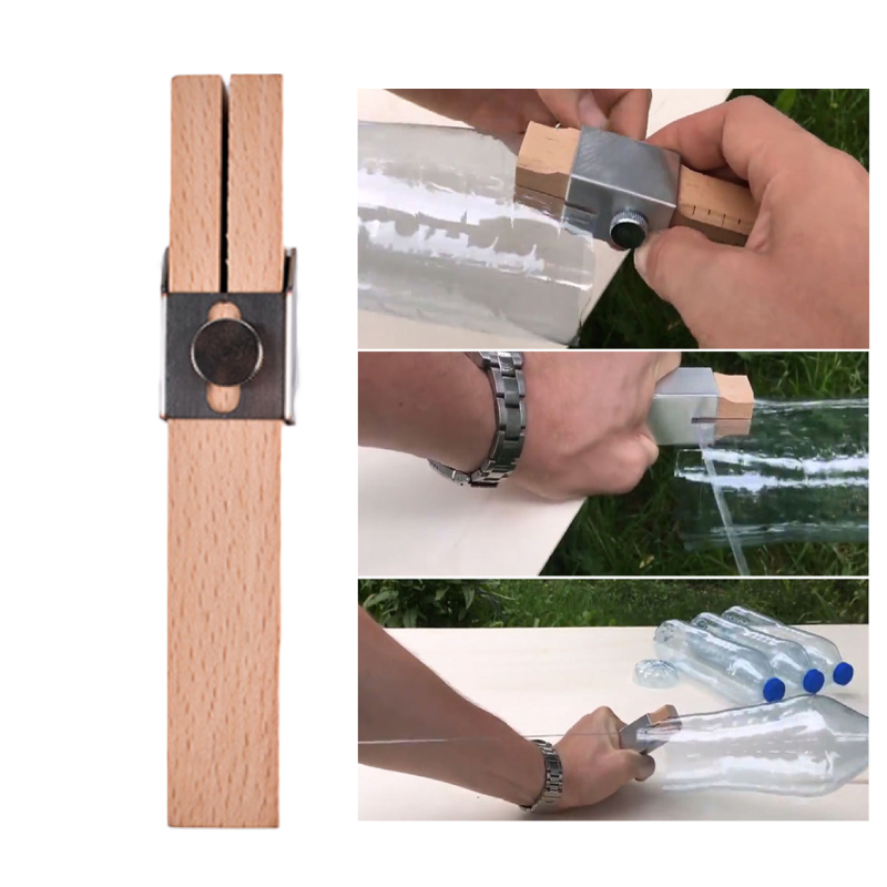 Portable Wood + Stainless Steel Plastic Bottle Cutter Rope Cord Strip Maker Tool For Outdoor Garden Decoration DIY Creative Tool