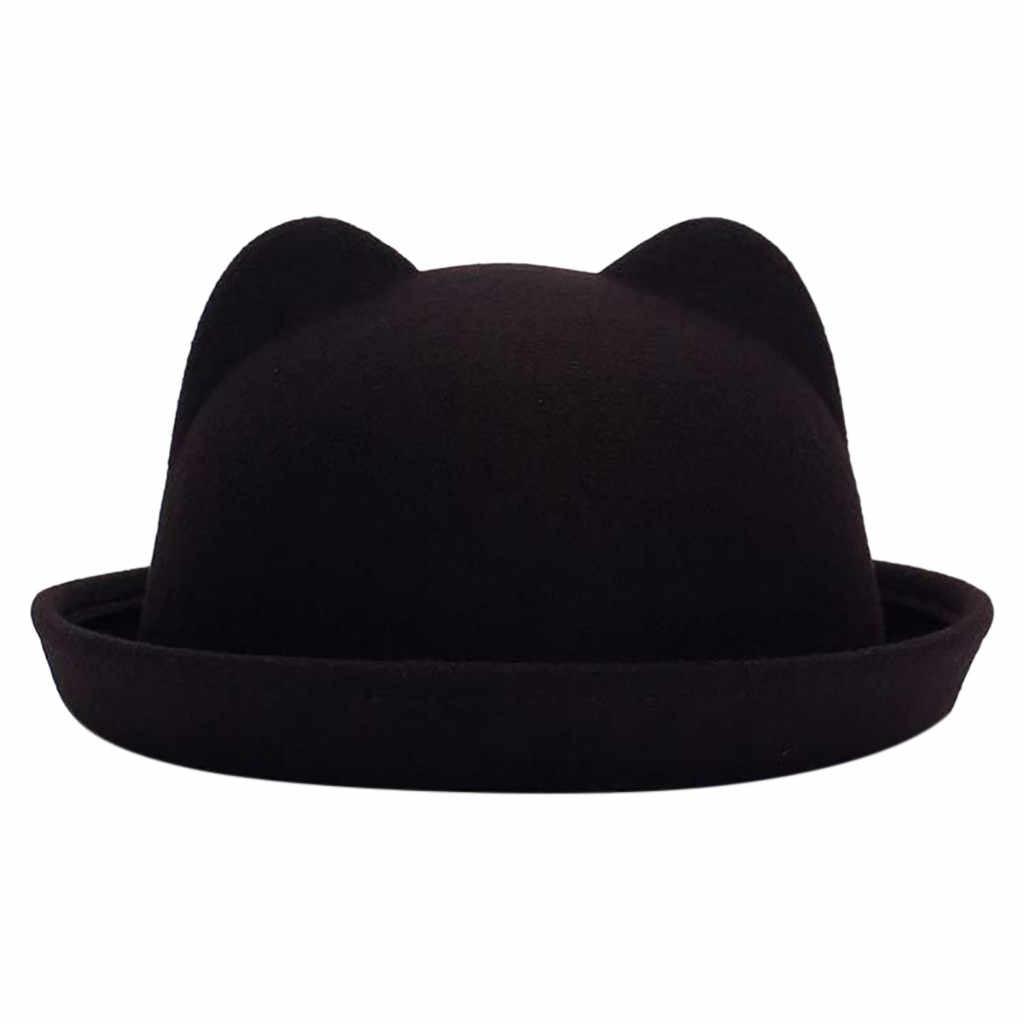 Baru Fashion Wol Datar Topi untuk Wanita Pria Merasa Lebar Brim Crusher Wol Merasa Pedalaman Topi Lucu desain Kucing Topi Topi