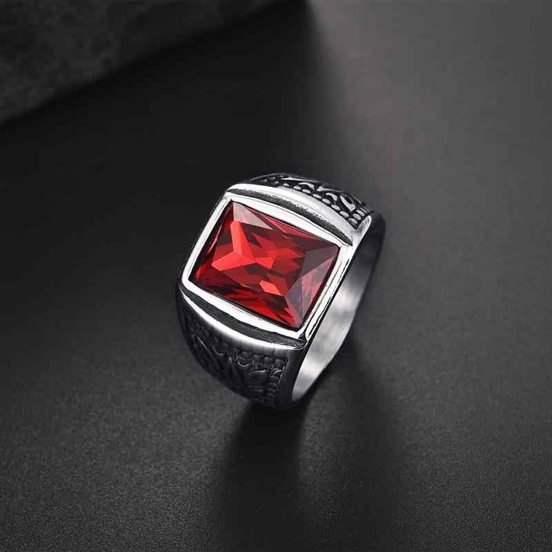 Jiayiqi Square Zircon หินผู้ชายแหวนไทเทเนียมสแตนเลสสตีลซีลแหวน Punk Hiphop ชายเครื่องประดับขายส่ง Anel