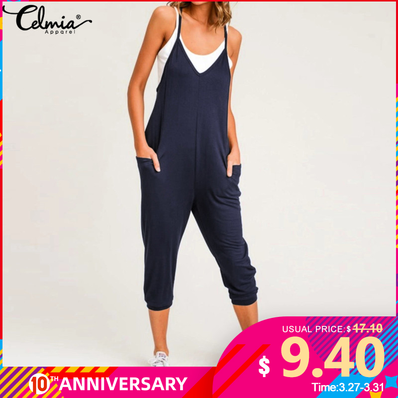 Celmia Plus Size Women Sexy Straps Jumpsuits Romper 2020 Sleeveless Casual Loose Harem Pants Playsuit Summer Beach  Overalls