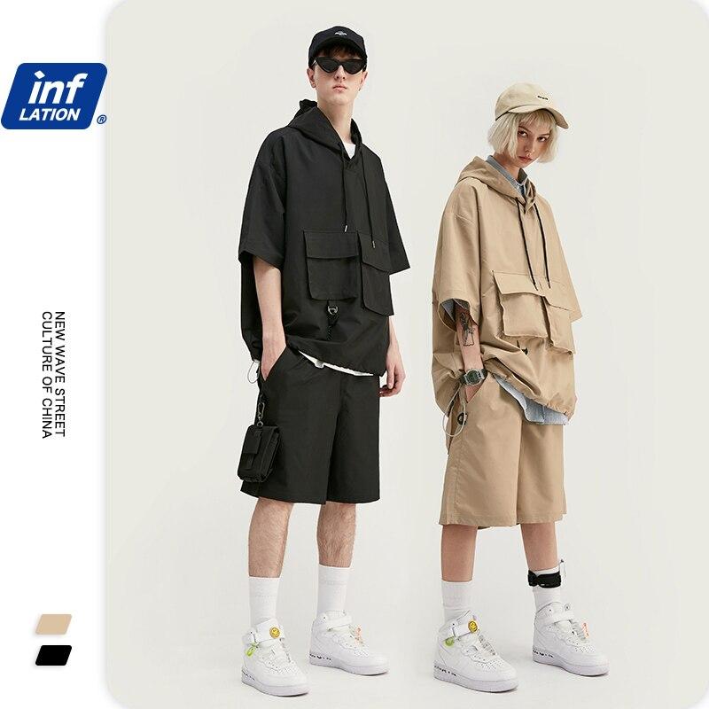 INFLATION Outdoor Tracksuit Men термобелье Ropa Hombre Polyester Short Sleeve Men Hooded Tshirt Elastic Drawstring Men Shorts