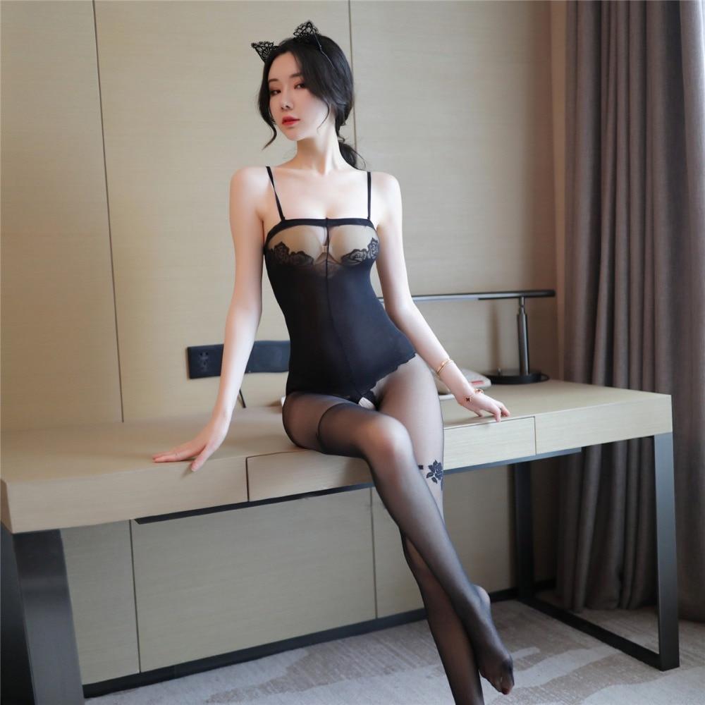 He744132dd16f49c8a9484cb3728c548fP Lencería Sexy íntima para mujer, disfraces sexys de osito, kimono porno, mono de manguera, ropa interior, medias elásticas de malla de color negro ajustado