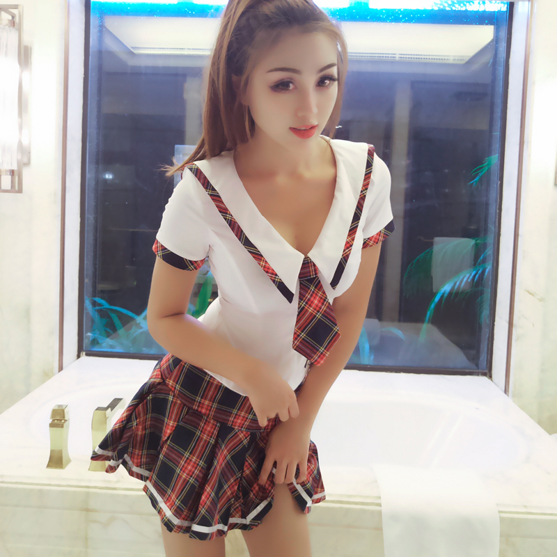 2019 Japanese School Uniform Anime Skirt Outfit Cosplay Costume Costume Jk Student Sailor Suit Plaid Skirt Sexy Bowknot Top