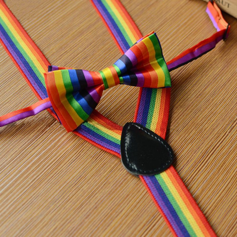 2 Pcs/set Cute Fashion Kids Bow Tie Strap Clip Set Rainbow Striped Leading Knot Children Bib Pants Accessories For Boys Girls