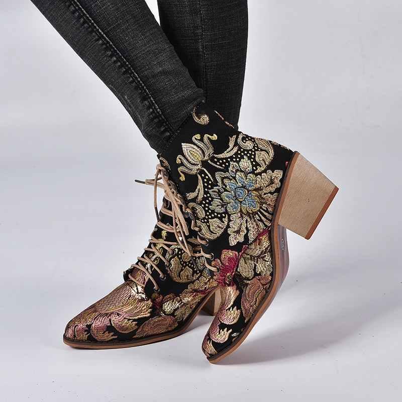 Laamei 2019 Lady Elegant Lace Up ข้อเท้ารองเท้าฤดูใบไม้ผลิ Retro ผู้หญิงเย็บปักถักร้อยดอกไม้สั้นหญิง Chunky Botas Mujer