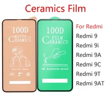 50Pcs \ הרבה 100D מלא כיסוי רך קרמיקה מזג זכוכית עבור Xiaomi Redmi 9 9i 9A 9C 9T 9AT מסך מגן סרט