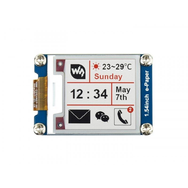 Трехцветный 3,3 В/5 В модуль отображения e-Paper EInk 1,54 дюйма SPI для Raspberry Pi 4B/ 3B +/ 3A +/ Zero W, разрешение 200x200
