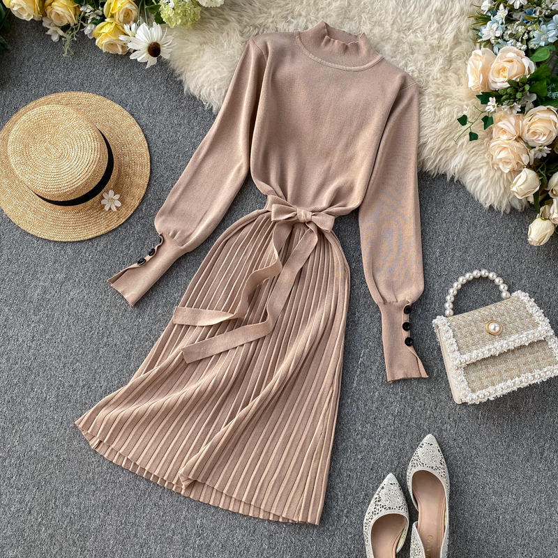 ALPHALMODA High Collar Buttons Sleeve Pleated Women Autumn Winter Sashes Tie Pleated Knit Dress Female Vintage Classical Dress 70
