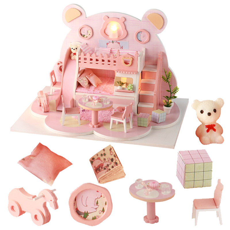 Good Price Doll House Furniture With Free Dust Cover Accessories Diy Dollhouse Miniature House Toys Poppenhuis Miniaturen Toys image
