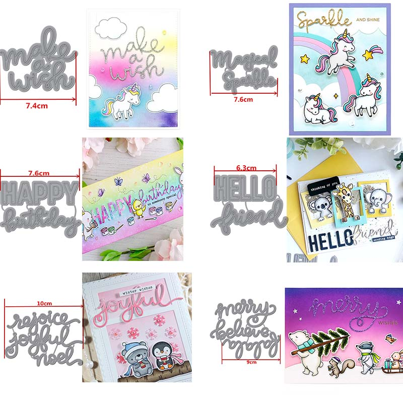 Make A Wish Happy Birthday Hello Friend Magical Words Metal Cutting Dies Stencils For DIY Scrapbooking Album Paper Cards Craft image