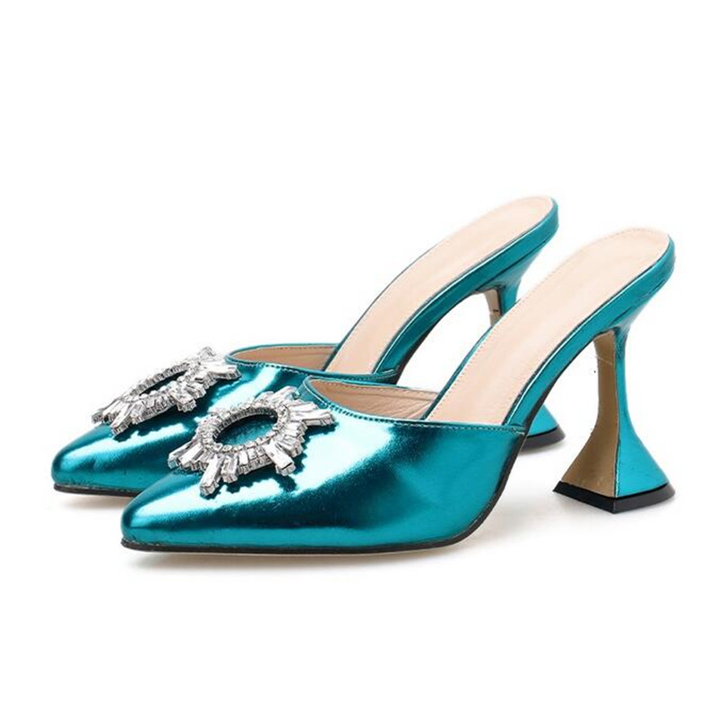 Sexy PVC High Heels Sandals Shoes Woman Silver Rhinestone Wedding Shoes 7.5cm High Heels Party Shoes Summer Height Heels Sandals 5