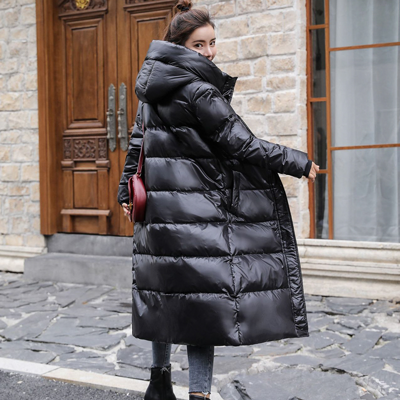 Down Jackets Women's Long White Duck Down Parka Female Winter Jacket Long Thick Coat Warm Clothes Slim Fashion Loose Outerwear