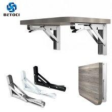 Betoci 2 pces 8-16 Polegada triângulo de aço inoxidável suporte dobrável branco e preto resistente suporte wall mounted mobiliário ferragem