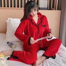 Бархатные пижамы для женщин с длинным рукавом сплошной цвет